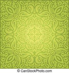 Green floral vintage wallpaper vector decorative design...
