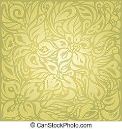 Green floral vintage wallpaper vector design
