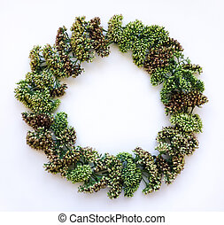 Green floral wreath frame on white background. Flat lay, top view, autumn or winter decoration
