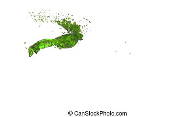 green flow liquid like juice moves in slow motion . 3d render fluid cg slow motion with alpha matte, full hd. Simulated and rendered with very high detail. Ver 4