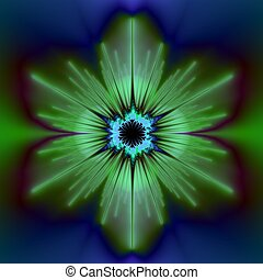 Green Flower - Computer generated fractal image with an...