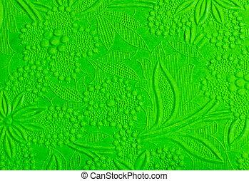 Green flower embossed pattern paper
