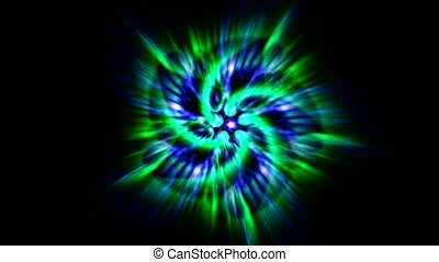 green flower mandala fancy pattern and rays laser light, ...