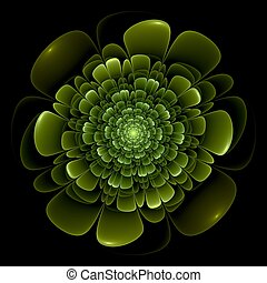 Green flower pattern modern fractal art design