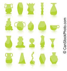 green Flower pots vector