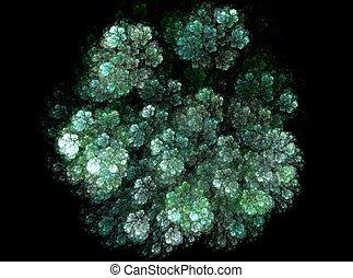 Green flower shape abstract fractal effect light background
