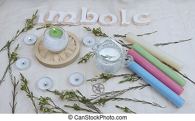 Green flowers, altar candles for Imbolc sabbath.