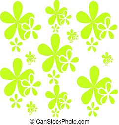 Green flowers isolated on white background