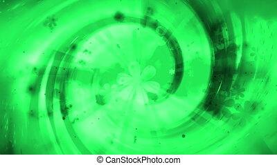 Green flowers retro spiral loop
