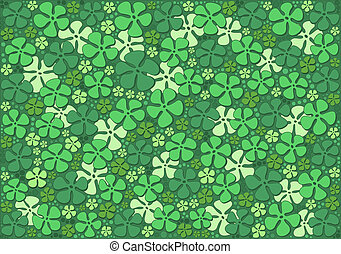 Green flowers - Dimensional pattern with stylized green...