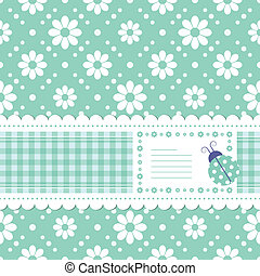 green flowery greeting card - cute green postcard...