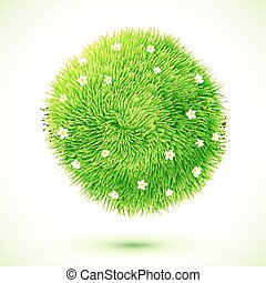 Green fluffy grass ball with chamomiles - Green fluffy grass...