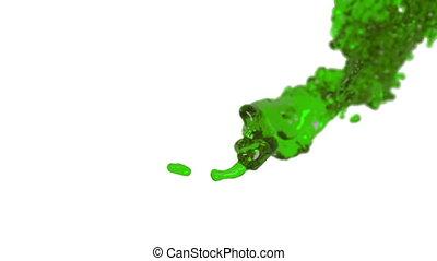 green fluid splash in slow motion. DOF