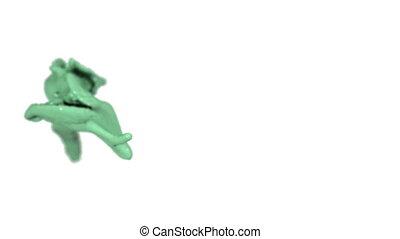 green fluid splash in slow motion with DOF. Paint.