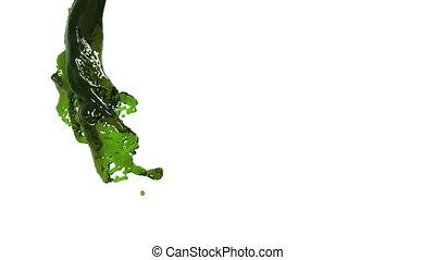 green fluid stream on white background.. Oil