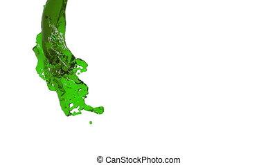 green fluid stream on white background.