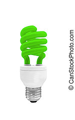 Green Fluorescent Light Bulb with clipping path