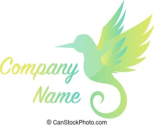 Green flying bird simple logo vector illustration on a white background