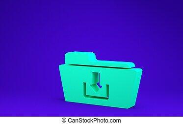 Green Folder download icon isolated on blue background. Minimalism concept. 3d illustration 3D render