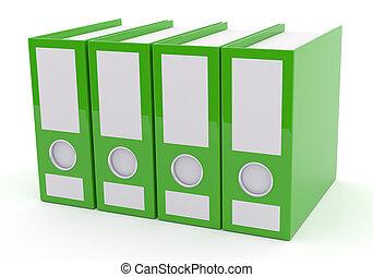 Green folder on white, 3d rendering