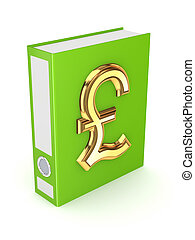 Green folder with golden symbol of pound sterling. Isolated on white background.3d rendered.