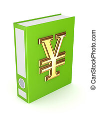 Green folder with golden symbol of yen.