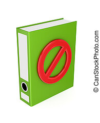 Green folder with red Stop symbol.