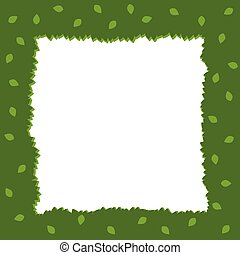 Green Foliage Square Frame