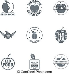 Green food logo set, simple style