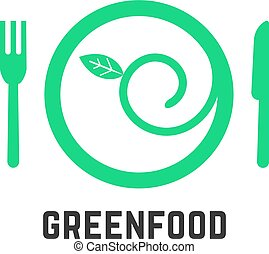 green food logo with tablewares