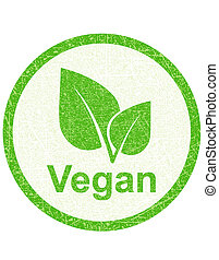 vegetarian seal - green food vegetarian seal with leaf