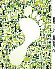 Green foot print design - Green icons foot prints concept...