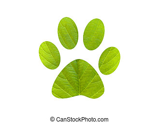 Green foot print dog - Footprint in leaves. Green foot print...