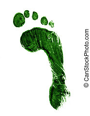An impression of a footprint in green