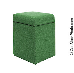 green footstool isolated on white