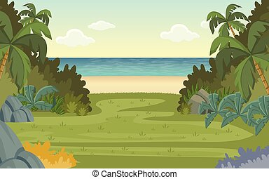 Green forest and tropical beach.