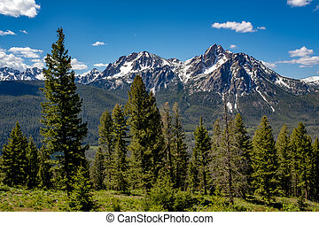 Tall Sawtooth mountain with snow on it in Idaho