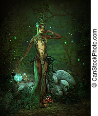 Green Forest Elf at Night, 3d CG