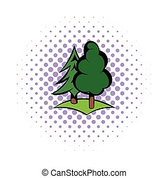 Green forest icon, comics style