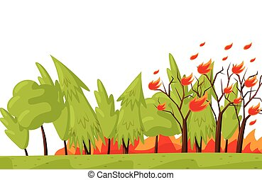 Green forest in fire. Burning trees. Natural disaster. Emergency situation. Wildfire theme. Flat vector design