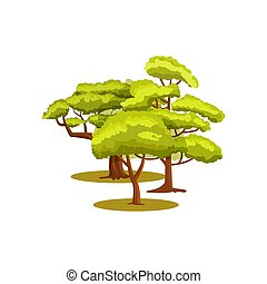 Green forest isolated vector icon