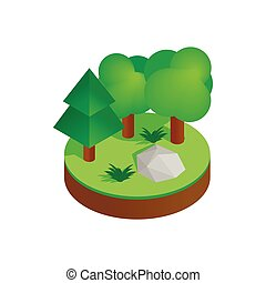 Green forest isometric 3d icon