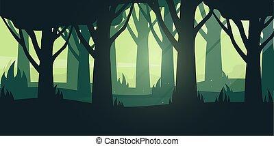 Green Forest landscape Background in the sunshine. Vector Illustration.