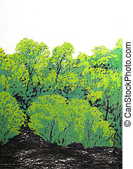 Green forest painting, colorful summer forest, Mystic blue and green forest