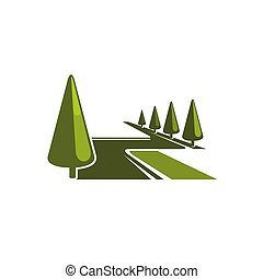 Green forest park trees vector eco icon
