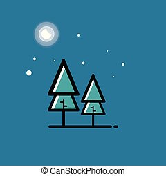 Green forest, tree icons on blue background.