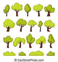 Green forest trees and bushes cartoon vector illustrations set