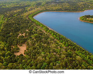 Green forests in sunny summer day on a beautiful panorama aerial view of blue lakes