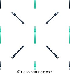 Green Fork icon isolated seamless pattern on white background. Vector