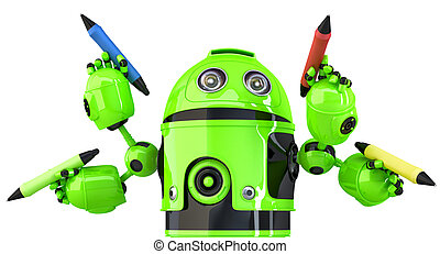 Green four-arm robot with pencils. Multitasking concept. Isolated. Contains clipping path. 3d illustration